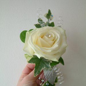 White Rose jacket corsage